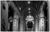 Interior of Basilica San Pietro. Vatican City (black and white)