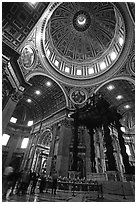 Baldachino, Bernini's baroque canopy stands above St Peter's tomb. Vatican City (black and white)