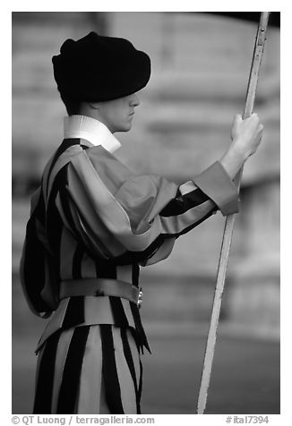 Swiss guard. Vatican City (black and white)