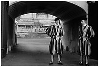Swiss guards in blue, red, orange and yellow  Renaissance uniform. Vatican City (black and white)