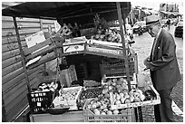 Street gruit vendor. Naples, Campania, Italy (black and white)