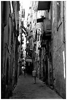 Narrow side street in Spaccanapoli. Naples, Campania, Italy ( black and white)