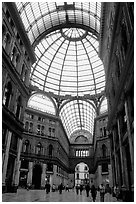 Roof and arcades of Galleria Umberto I. Naples, Campania, Italy ( black and white)