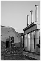 Forum, sunset. Pompeii, Campania, Italy ( black and white)