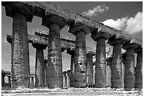 Columns of Greek Temple of Neptune. Campania, Italy ( black and white)