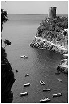 Cove. Amalfi Coast, Campania, Italy ( black and white)