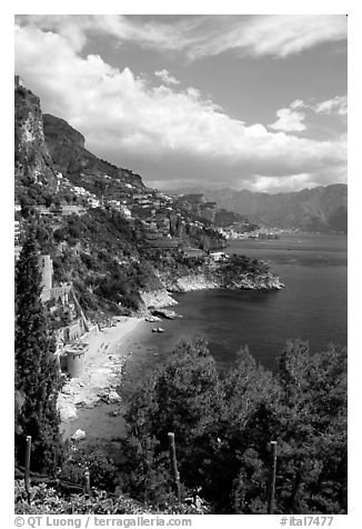Hills plunging into the Mediterranean. Amalfi Coast, Campania, Italy (black and white)