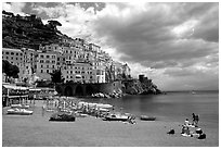 Beach and houses,  Amalfi. Amalfi Coast, Campania, Italy ( black and white)
