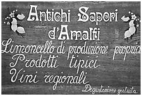 Sign advertising Lemoncelo, the local lemon-based liquor, Amalfi. Amalfi Coast, Campania, Italy ( black and white)