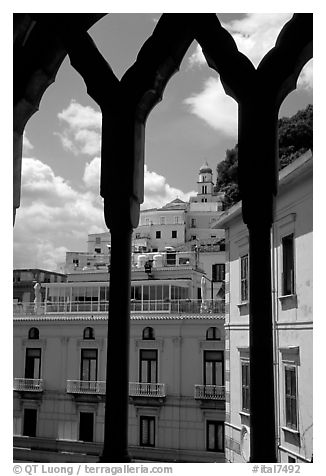 Amalfi hills seen from Duomo Sant'Andrea. Amalfi Coast, Campania, Italy (black and white)