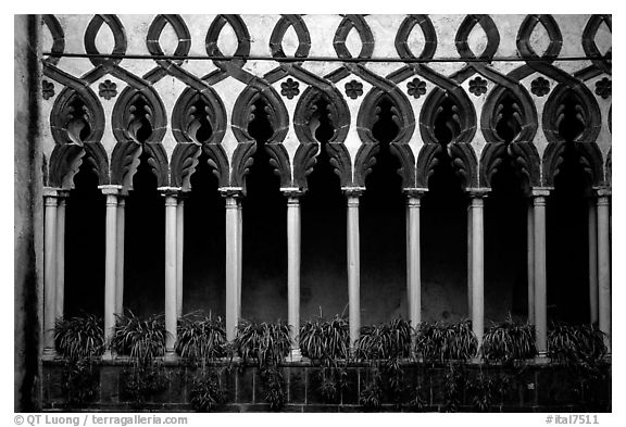 Gothic columns in Villa Rufolo, whose last resident was Richard Wagner, Ravello. Amalfi Coast, Campania, Italy (black and white)