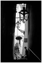 Narrow stairway with formally dressed man and hotel sign,  Amalfi. Amalfi Coast, Campania, Italy ( black and white)