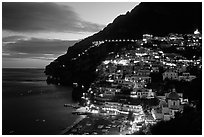 Lights on Positano. Amalfi Coast, Campania, Italy (black and white)