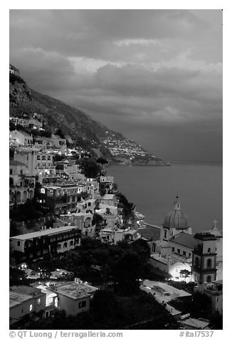 Positano and Mediterranean  at dusk. Amalfi Coast, Campania, Italy (black and white)