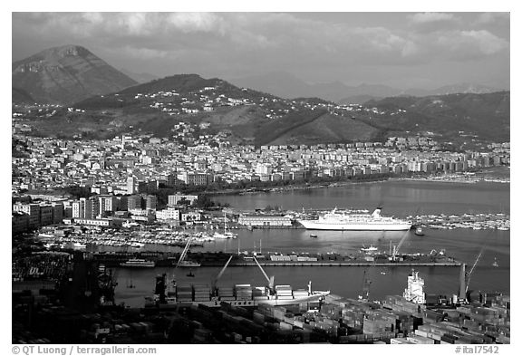 Salerno. Amalfi Coast, Campania, Italy (black and white)
