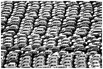 Cars waiting for shipping in Salerno port. Amalfi Coast, Campania, Italy ( black and white)