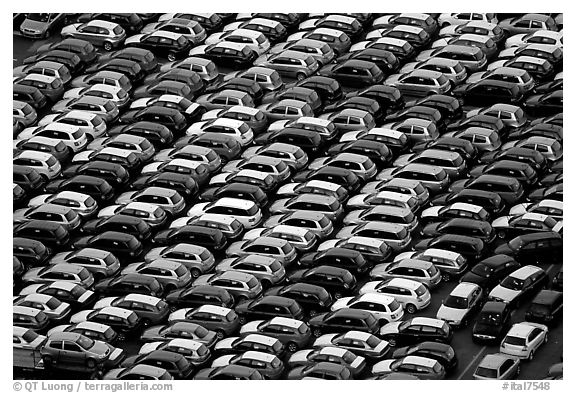 Rows of cars in transit at Salerno port. Amalfi Coast, Campania, Italy (black and white)