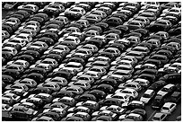 Rows of cars in transit at Salerno port. Amalfi Coast, Campania, Italy ( black and white)