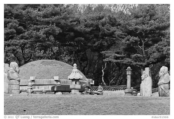 Jeongneung, royal tomb of the Joseon Dynasty, Samreung Gongwon. Seoul, South Korea (black and white)