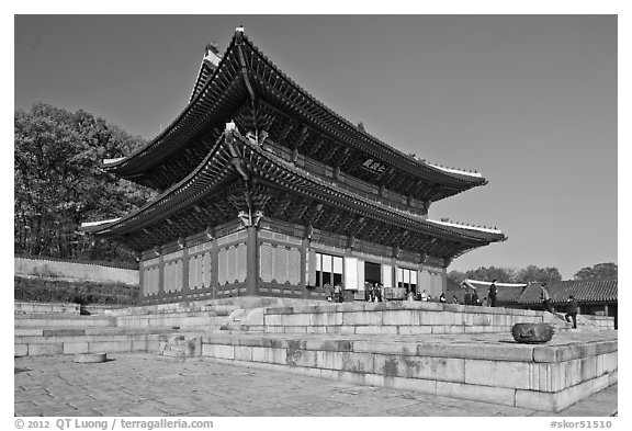 Throne Hall, Changdeokgung Palace. Seoul, South Korea (black and white)