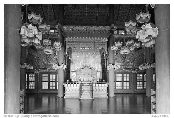Throne room, Changdeokgung Palace. Seoul, South Korea (black and white)