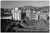 Bukchon Hanok Village. Seoul, South Korea ( black and white)
