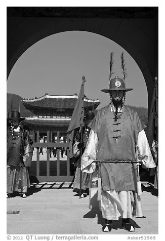Commander of the Gate Guard (Sumunjang), Gyeongbokgung. Seoul, South Korea (black and white)