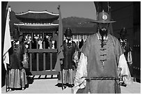 Guards in Joseon-period costumes, Gyeongbokgung. Seoul, South Korea ( black and white)