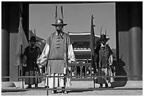 Royal guards, Heugnyemun gate, Gyeongbokgung. Seoul, South Korea (black and white)