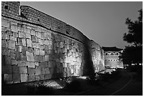 Outside Suwon Hwaseong Fortress wall at dusk. South Korea (black and white)