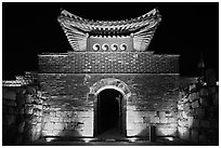 Seonamammun gate by night, Suwon Hwaseong Fortress. South Korea (black and white)