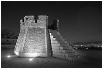 Seonodae (crossbow tower) at night, Suwon Hwaseong Fortress. South Korea ( black and white)