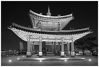 Seojangdae (western command post) at night, Suwon Hwaseong Fortress. South Korea (black and white)