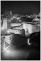 Hwaseomun gate at night, Suwon Hwaseong Fortress. South Korea (black and white)
