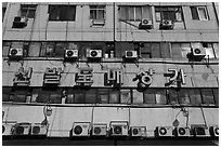 Facade with air conditioning machines. Seoul, South Korea ( black and white)