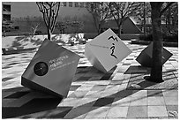 Sculptures celebrating city choice as world design capital. Seoul, South Korea ( black and white)