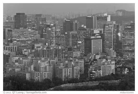 Central Seoul at dusk. Seoul, South Korea (black and white)