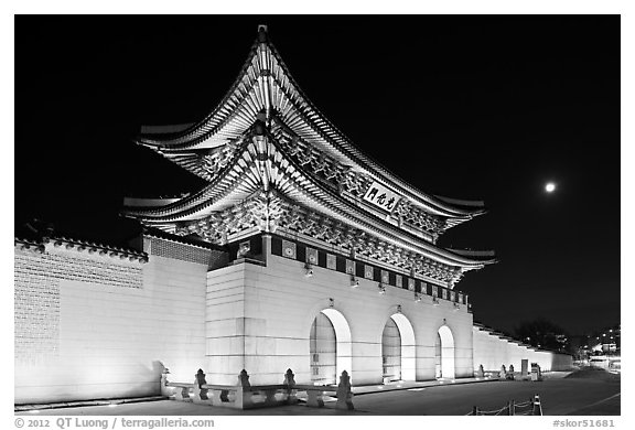 Gyeongbokgung gate and moon. Seoul, South Korea (black and white)