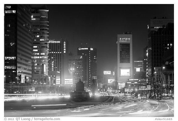 Large boulevard, lights, and high rises. Seoul, South Korea (black and white)