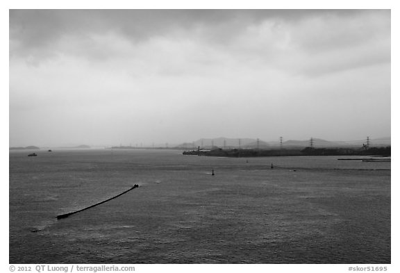 Incheon bay. South Korea (black and white)