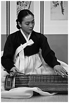 Traditional music performer. South Korea (black and white)
