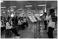 Music concert in subway. Daegu, South Korea ( black and white)