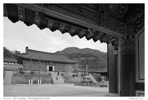 Haeinsa Temple framed by entrance gate. South Korea (black and white)