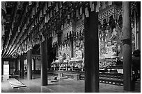 Interior of main hall, Haein-sa Temple. South Korea ( black and white)