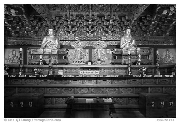 Interior of side hall, Haeinsa Temple. South Korea (black and white)
