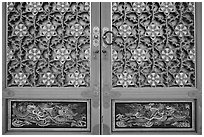 Intricate door decor, Haeinsa Temple. South Korea (black and white)
