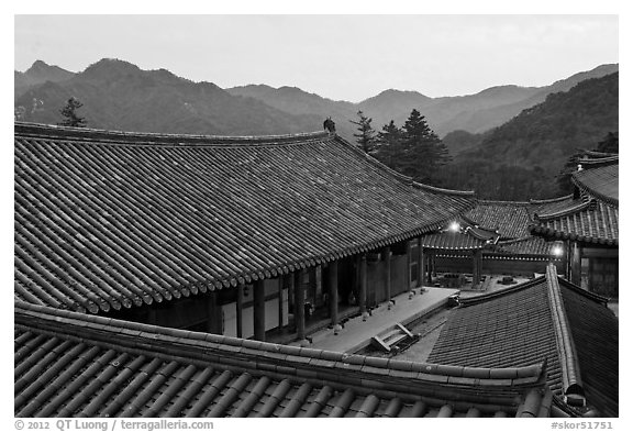 Rooftops, Haeinsa Temple. South Korea (black and white)