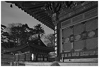 Haeinsa Temple at dusk. South Korea ( black and white)
