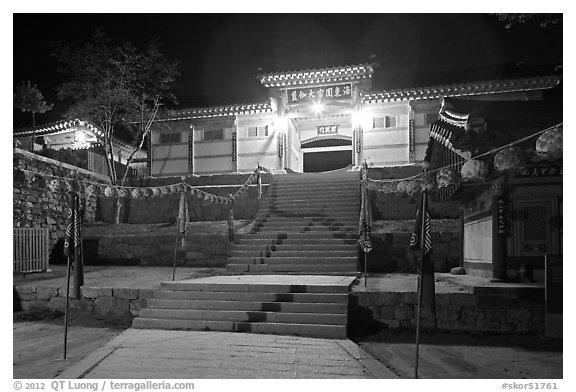 Main gate of Haein-sa Temple at night. South Korea (black and white)