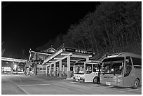 Bus station near Haeinsa at night. South Korea (black and white)